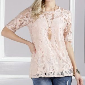 Suzanne Betro Pink Lace Keyhole Top - L